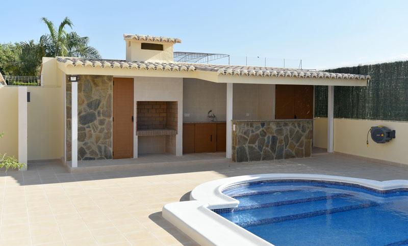 Paellero, barbacoa, construccion en Albal, cocina exterior, piscina, chillout, horno leña.
